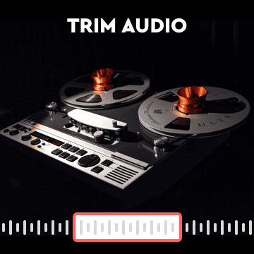With Motionbox you can upload your audio. Inside the tool you will be able to trim the audio easily with the trimming tool. Don't worry about figuring out how to do that on your own. Let it be handled for you. All you need to focus on is highlighting the segment of the audio you want. That's it, you're done!